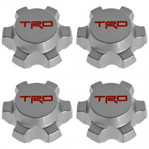 07-14 FJ Cruiser; 01-14 Tacoma (w/16, 6 Spoke Whl) Silver & Red ~TRD~ Ctr Cap Set of 4 (Toyota)