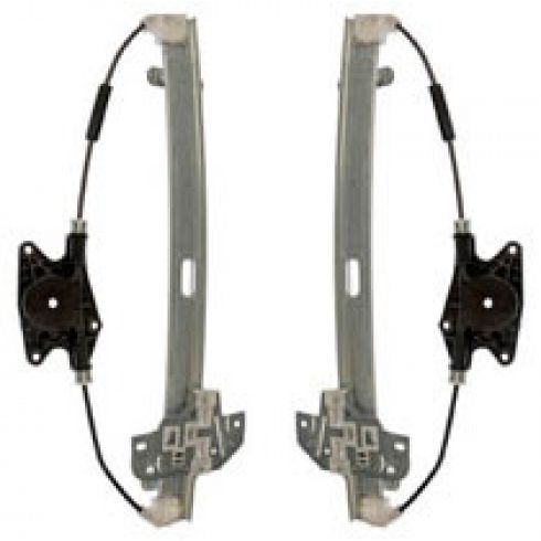 2006-11 Kia Rio; 06-11 Hyundai Accent Sedan Power Window Regulator w/o Motor Rear PAIR
