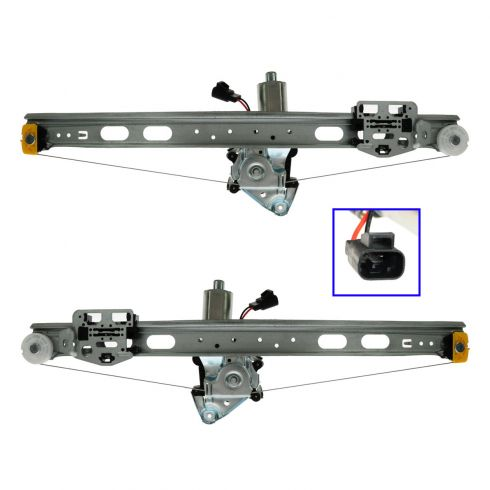 98-02 Mercedes ML Class Rear Door Power Window Regulator w/Motor Pair