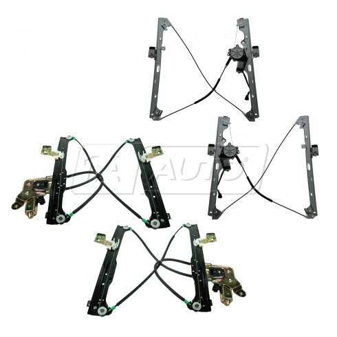 00-07 Chevy, GMC Pickup/SUV Multifit Front & Rear Door Power Window Regulator w/Motor (Set of 4)