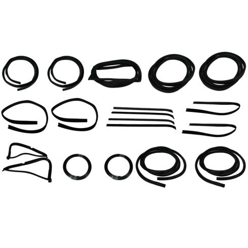 1977-79 Ford F-Series Pickup Complete Weatherstrip Kit for Trucks WITH Plastic Chrome Window Trim