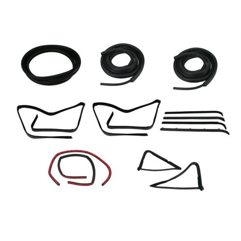 1980-86 Ford F-Series Pickup Complete Weatherstrip Kit for Trucks WITH All Black Rear Window Seal