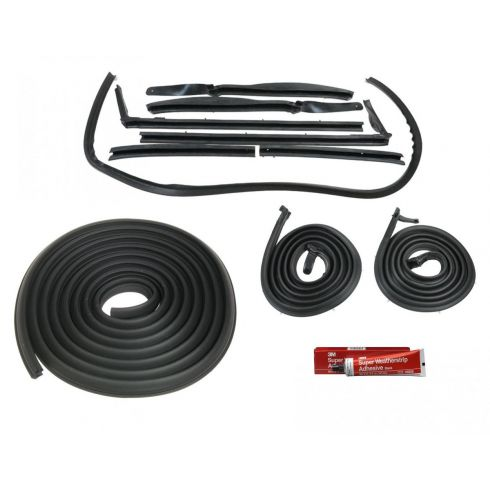 1963-64 Electra Impala Bonneville Convertible Weatherstrip Seal Set 11 Piece With Adhesive