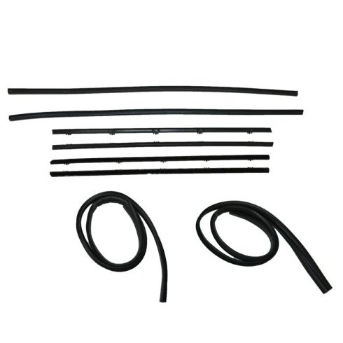 GM Pickup 8pc Window Sweep with Black Bead and Run Channel Weatherstrip Kit