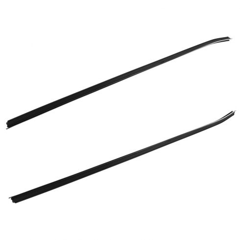 70-81 Camaro Firebird Door Inner Window Sweep 2 Piece Set (w/Small Flat Chrome Bead)