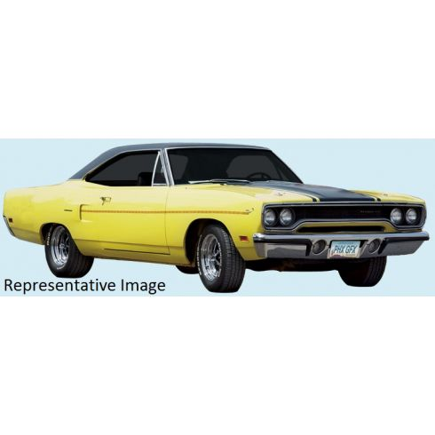 70 Plymouth Road Runner Gold Dust Trail Complete Decal Kit w/Deck Stripe in Refl.Gold/Blk