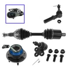 00-11 GM Mid Size FWD Passenger Car Frt Axle, Lwr BJ, Hub & Brg, Outer Tie Rod Kit LF (Set of 4)