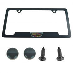 1902-2015 Cadillac Multifit ~Cadillac~ Logoed Black License Plate Frame (GM)