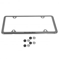 Mercedes Benz Polished Stainless Steel Slimline License Plate Frame w/Mercedes Benz Etching (MB)