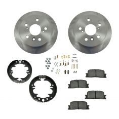 Brake Pad & Rotor Kit SEMI-METALLIC with Parking Brake Shoes & Hardware