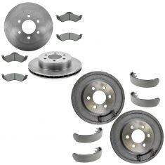 00-02 Durango Dakota Front & Rear Psi Ceramic Brake Pad, Rotor, Drum & Shoe Kit