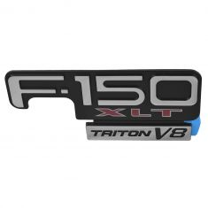 98-04 F150 Fender Mounted Chrome, Black, & Red ~F-150 XLT TRITON V8~ Adhesive Nameplate LH = RH (FD)