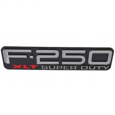 99-04 Ford F250SD ~F-250 XLT SUPER DUTY~ Logoed Front Fender Mounted Nameplate Emblem LF = RF (FD)