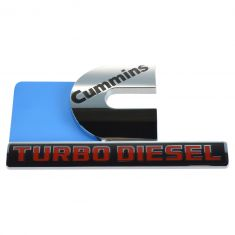 13-14 Ram 2500, 3500 Fndr Mtd Chrome, Red, Blk ~Cummins TURBO DIESEL~ Adh Nameplate LH = RH (Mopar)