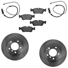 92-99 BMW E36 Front Ceramic Brake Pads w/ Sensors & Rotors Set