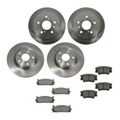 07-12 ES350, Camry, Camry Hybrid; 08-12 Avalon Front & Rear CERAMIC Brake Pad & Rotor Kit