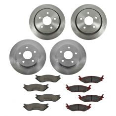 03-05 Dodge Ram 1500 (Exc SRT-10); 03 Ram Van 1500 Front & Rear CERAMIC Brake Pad & Rotor Kit