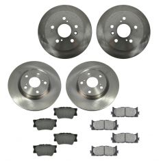 07-12 ES350, Camry, Camry Hybrid; 08-12 Avalon Front & Rear METALLIC Brake Pad & Rotor Kit