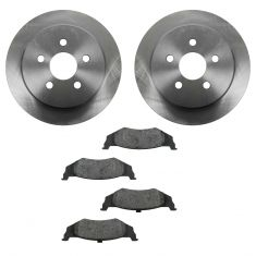 95-06 Chrysler, Dodge, Plymouth Multifit Rear METALLIC Brake Pad & Rotor Kit