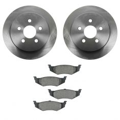 95-06 Chrysler, Dodge, Plymouth Multifit Rear CERAMIC Brake Pad & Rotor Kit