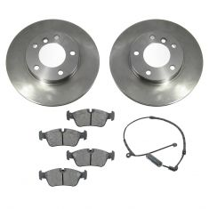 00-05 BMW Z4, 3 Series Multifit Front METALLIC Brake Pad, Sensor, & Rotor Kit