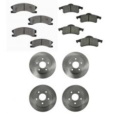 99-04 Jeep Grand Cherokee Front & Rear METALLIC Brake Pad & Rotor Kit