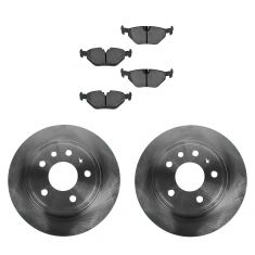 99-09 Saab 9-5 286mm Solid Rear Disc Brake Rotor & Metallic Pad Set