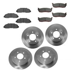 97-04 Ford F150 Front & Rear CERAMIC Brake Pad & 5 Lug Rotor Kit