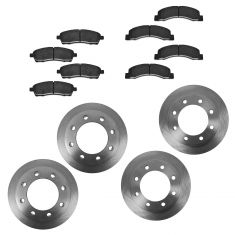 00-05 Ford Excursion, 99-04 F250 F350 Metallic Front & Rear Brake Pad & Rotor Set