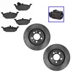 Front Ceramic Disc Brake Rotor &  Pads w/Female Oval Sensor Kit