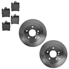 96-07 MB C; 99-09 CLK; 96-02 E; 05-11 SLK Series Rear Disc Brake Rotor & Metallic Pad Set