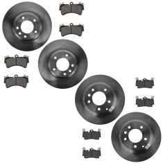 07-14 Audi Q7; 03-06, 08-13 Cayenne; 04-08 Touareg Front & Rear Disc Brake Rotor & Metallic Pad Kit
