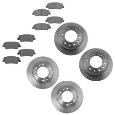 06-12 Kia Sedona; 07-09 Hyundai Entourage  Front & Rear Disc Brake Rotors w/ Semi Metallic Pads