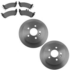 98-05 Mercedes Benz ML320 ML350 ML450 Rear Disc Brake Rotors & Premium Posi Semi Metallic Pads