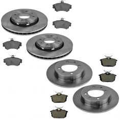 00-04 Volvo S40 Front & Rear Brake Rotor & Ceramic Pad Kit