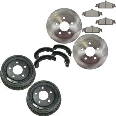 07-05 Malibu; 99-04 Grand Am Front & Rear Brake Rotor Pad Drum Shoe Kit