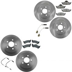 98-05 Mercedes Benz ML320 ML350 ML450 Front & Rear Premium Posi Semi Metallic Pad & Rotor Kit w/snsr