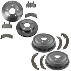 94-99 Dodge Ram 1500 Front Ceramic Brake Pad, Rotor & Rear Drum, Shoe Kit