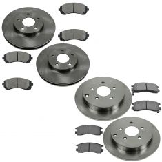 Buick, Chevy, Olds Pontiac Multifit Front & Rear Semi Metallic Brake Pad & Rotor Kit