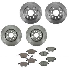 11-14 GTI,11-14 Jetta TDI Front & Rear CERAMIC Brake Pad & Rotor Kit