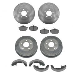 01-07 Taurus; 01-05 Sable Front & Rear Posi Ceramic Brake Pads, Rotors, Drum & Shoe Kit