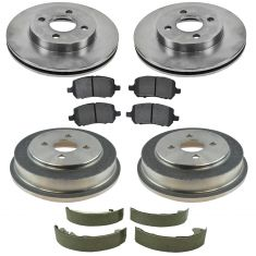 GM Multifit Front & Rear Premium Posi Semi Metallic Brake Pads, Rotor, Drum & Shoe Kit