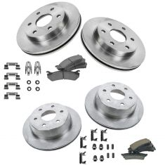 Cadillac, Chevy, GMC Truck Multifit Front & Rear Posi Ceramic Pad, Rotor & Hardware Kit