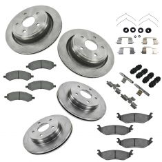 Chrysler Dodge Mitsubishi Ram Multifit Front & Rear Premium Posi Ceramic Pad, Rotors & Hardware Kit
