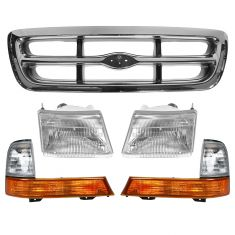 1998-00 Ford Ranger Arg/Chrm Grille and Lights