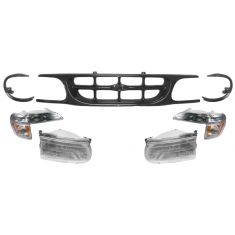 1997-00 Ford Explorer Black Grill and Light Set