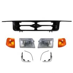 95-97 Ford Ranger Pickup Black Grille, Headlight, Parking Light, & Parking Light Trim Set