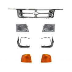 95-97 Ranger Pickup All Chrome Grille, Headlight, Parking Light, & Parking Light Trim Set