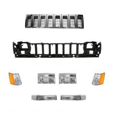 93-95 Jeep Grand Cherokee Chrome & Dark Argent Grille, Header Panel, & Light Set
