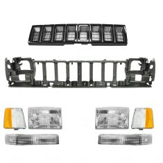 93-95 Jeep Grand Cherokee Black Grille, Header Panel, & Light Set